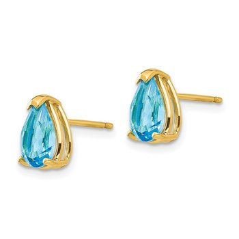 14k 8x5mm Pear Blue Topaz Earrings