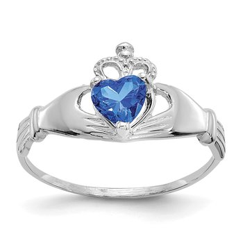 14k White Gold CZ September Birthstone Claddagh Heart Ring