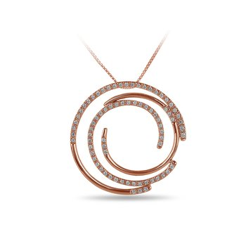 14K RG Diamond Multi Circle Slider Pendant in Prong Setting