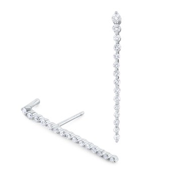 Diamond Line Cliffhanger Earrings Set in 14 Kt. Gold