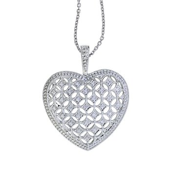 14K White Gold Large Diamond Heart Pendant (.15 carat)