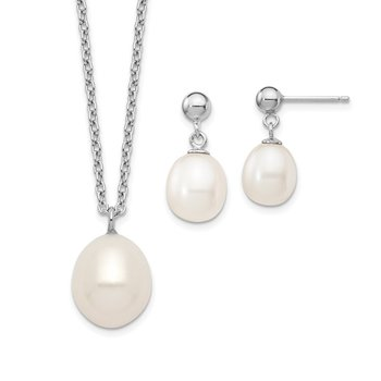 Sterling Silver Rhodium-plated 8-9mm Rice FWC Pearl Necklace/Earrings Set