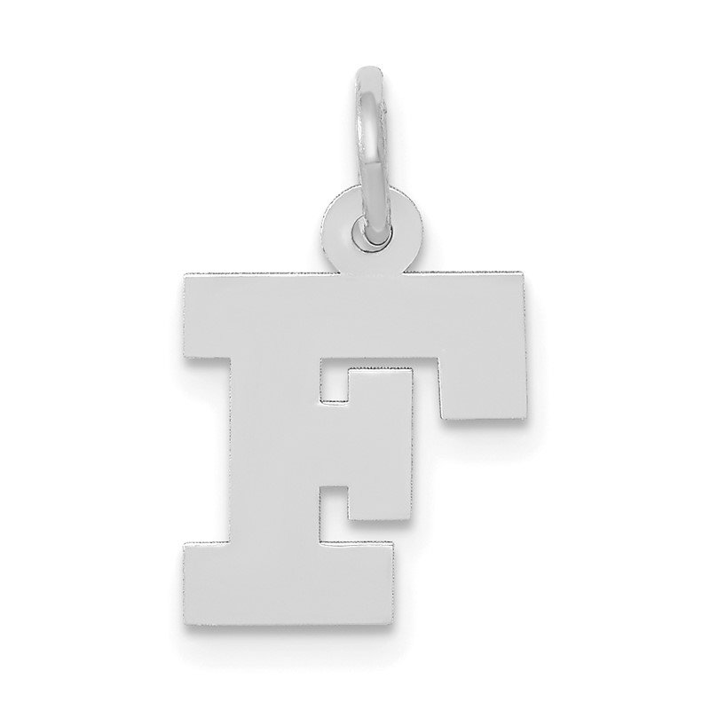 Quality Gold 14KW Small Block Letter F Initial Charm