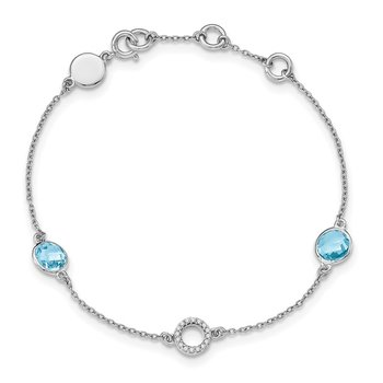 SS White Ice Blue Topaz and .05 ct Diamond Bracelet