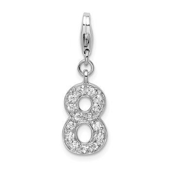 Sterling Silver CZ Numeral 8 w/Lobster Clasp Charm