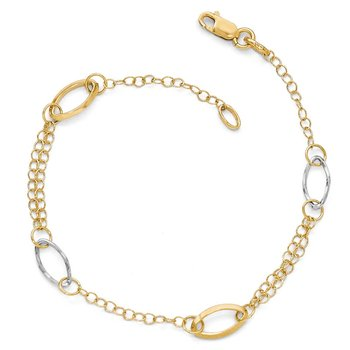 Leslie's 14k Two-tone Polished Link Bracelet