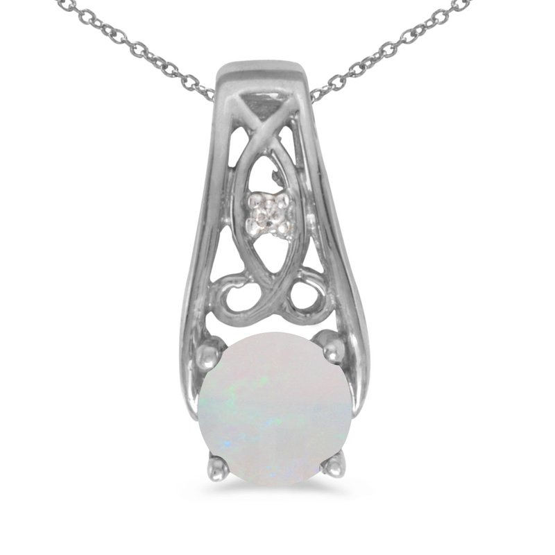 Color Merchants 10k White Gold Round Opal And Diamond Pendant