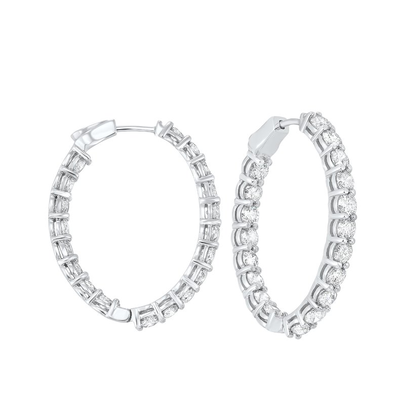 Gems One In-Out Diamond Hoop Earrings in 14K White Gold (7 ct. tw.) I2/I3 - H/K