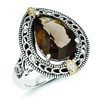 Sterling Silver w/14k Diamond & Smoky Quartz Ring