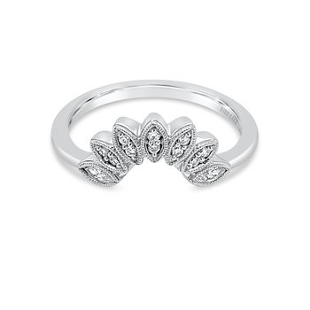 Boho Floral Diamond Wedding Band