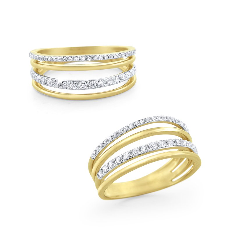 KC Designs 14 Kt. Gold & Diamond 4 Row Band