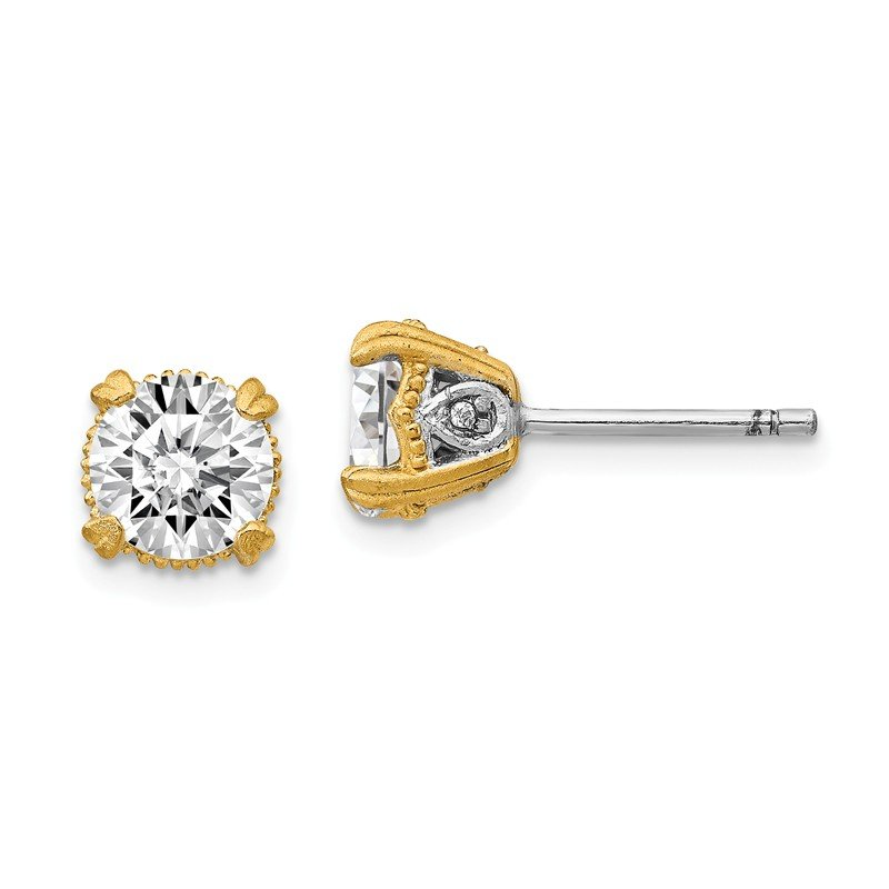 Cheryl M Cheryl M Sterling Silver & Gold-plated 6.5mm CZ Stud Earrings