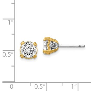 Cheryl M Sterling Silver & Gold-plated 6.5mm CZ Stud Earrings