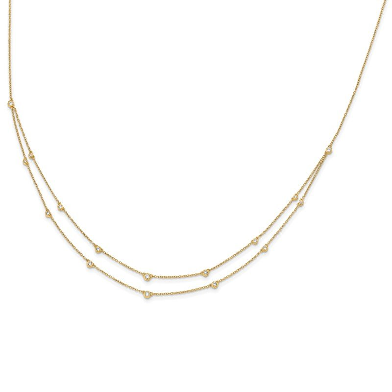 Quality Gold 14k White Gold Diamond Multi Station Double Strand Necklace