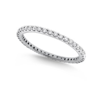 Diamond Shared Prong Set Eternity Band in 14k White Gold with 41 Diamonds weighing .41ct tw.