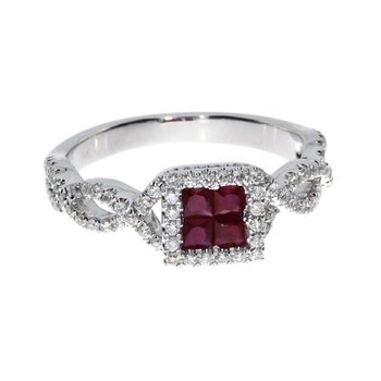 14k White Ruby Princess Fashion Ring