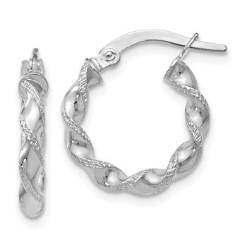 Leslie's 10K White Gold Polished & Textured Twisted Hinged Hoop Earrings