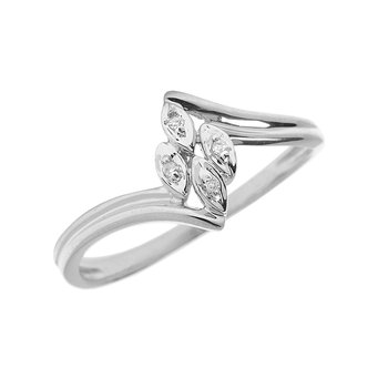 Sterling Silver Diamond Leaf Ring