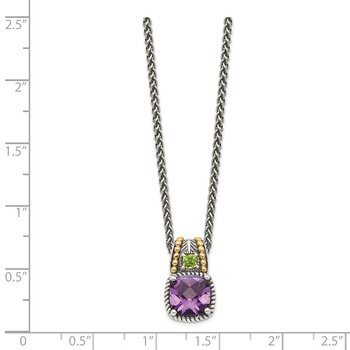 Sterling Silver w/14k Amethyst & Peridot Necklace
