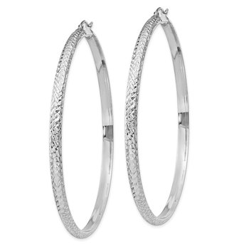 14K White Gold Diamond-cut 3.5x65mm Hollow Hoop Earrings