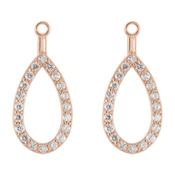 14K Rose Teardrop Halo-Style Earring Jacket Mounting