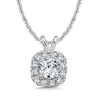 Diamond Cushion Halo Pendant with Split Bale in 14K White Gold (1/4ct. tw.)