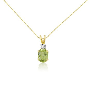 14k Yellow Oval Peridot and Diamond Pendant