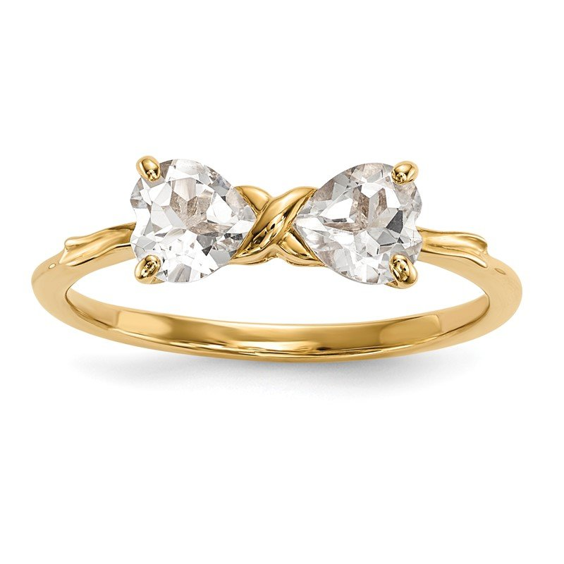 Quality Gold 14k Gold Polished White Topaz Bow Ring