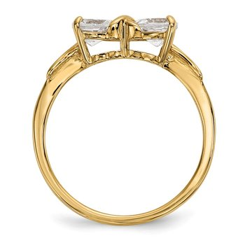 14k Gold Polished White Topaz Bow Ring