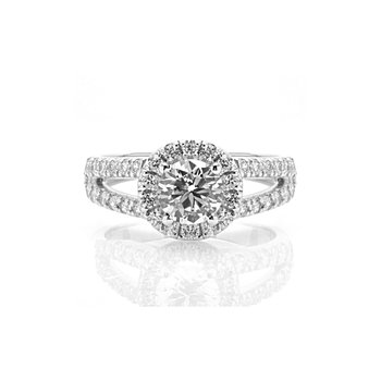 Round Halo Split Shank Design Diamond Halo Engagement Ring