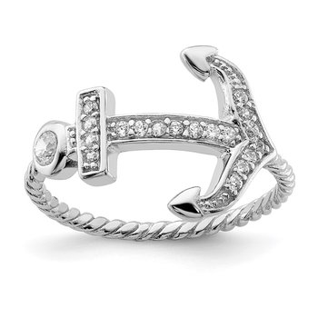 Sterling Silver Rhodium-plated Polished & Textured CZ Anchor Ring