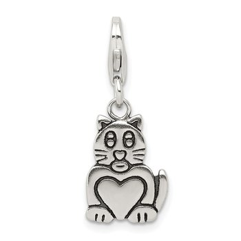 Sterling Silver Antiqued Cat Charm