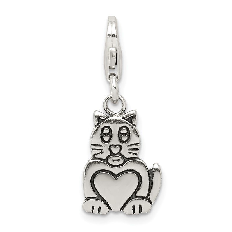 Quality Gold Sterling Silver Antiqued Cat Charm