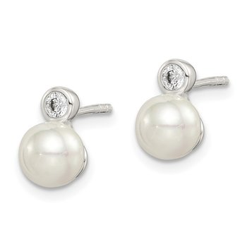Sterling Silver CZ and Glass Pearl Earrings
