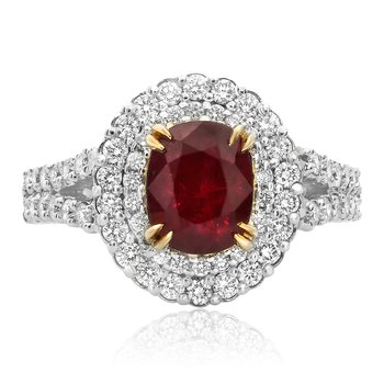 Double Halo Ruby & Diamond Ring