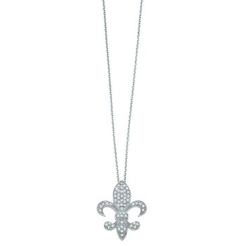Diamond Medium Fleur Di Lis Necklace in 14k White Gold with 54 Diamonds weighing .33ct tw.