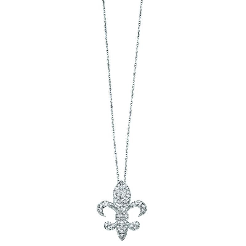 KC Designs Diamond Medium Fleur Di Lis Necklace in 14k White Gold with 54 Diamonds weighing .33ct tw.