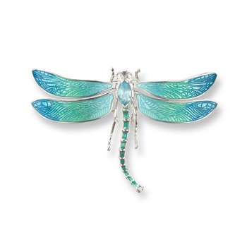 Blue Dragonfly Brooch-Pendant.Sterling Silver-Blue Topaz and White Sapphires