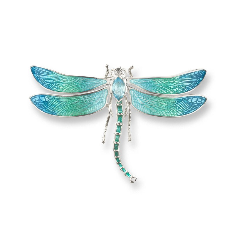 Nicole Barr Designs Blue Dragonfly Brooch-Pendant.Sterling Silver-Blue Topaz and White Sapphires