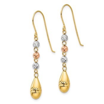 14k Tri-color Diamond-cut Teardrop Beaded Puff Dangle Earrings