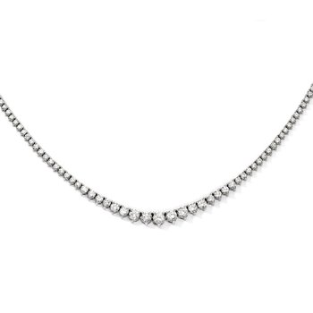 Sterling Silver Rhodium-plated 164 Stone CZ Necklace