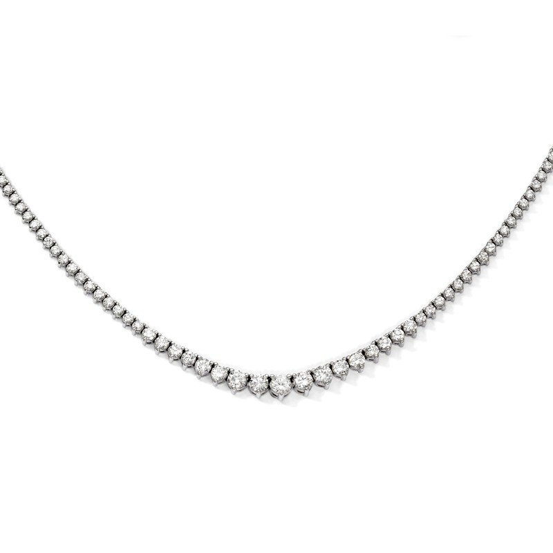 Quality Gold Sterling Silver Rhodium-plated 164 Stone CZ Necklace