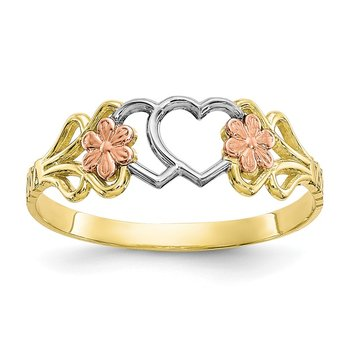 10K Two-Tone w/White Rhodium Double Heart Ring