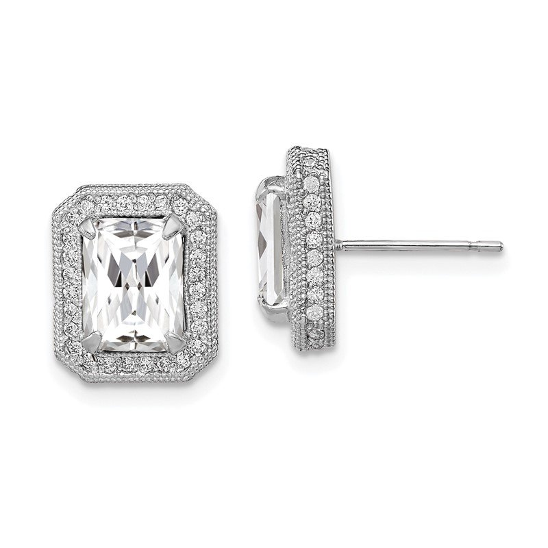 Quality Gold 10K Tiara Collection White Gold Polished CZ Earrings