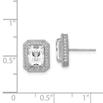 10K Tiara Collection White Gold Polished CZ Earrings