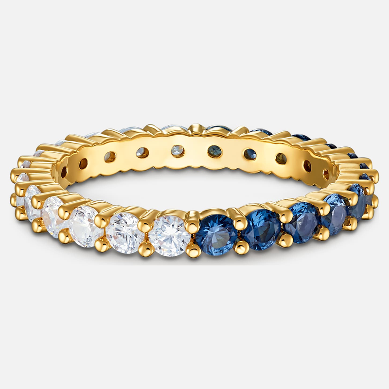 Swarovski Vittore Half XL Ring, Blue, Gold-tone plated