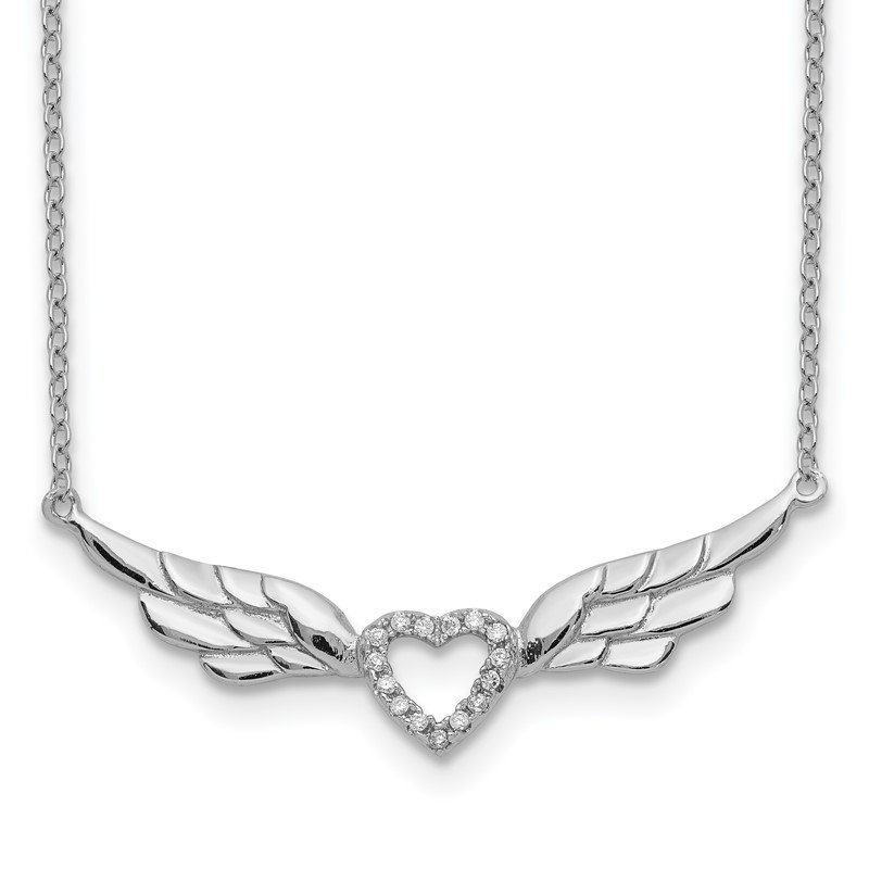 Quality Gold Sterling Silver Rhodium-plated CZ Heart w/Wings w/1in ext Necklace