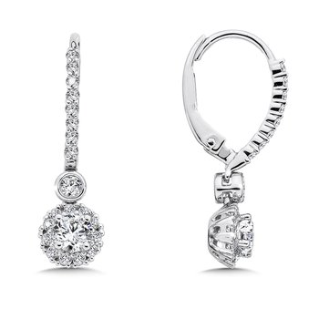 Diamond Drop Earrings with Round Halo in 14K White Gold with Platinum Post (1/2ct. tw.)