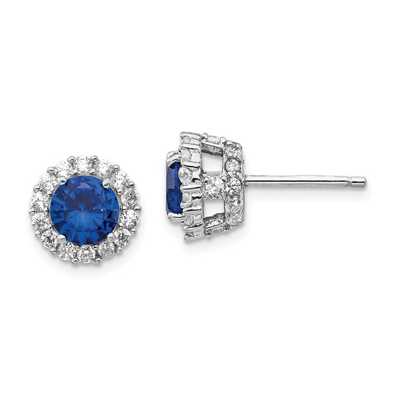 Cheryl M Cheryl M SS RH-plated Lab Created Dark Blue Spinel & CZ Round Post Earrings