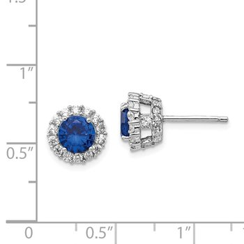 Cheryl M Sterling Silver Lab created Dk Blue Spinel & CZ Round Post Earring